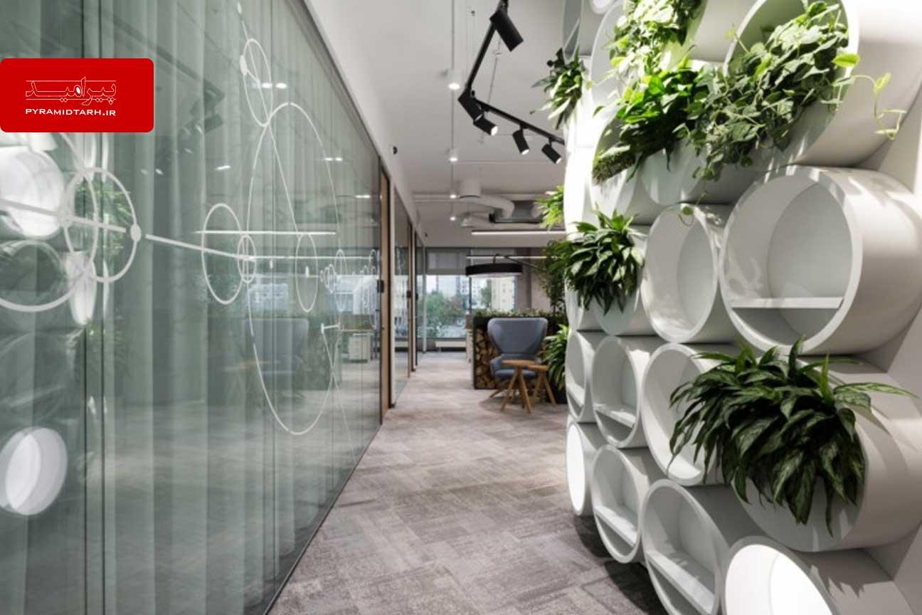 دکوراسیون اداری شرکت dpg با اهمیت ویژه به گیاهان سبز